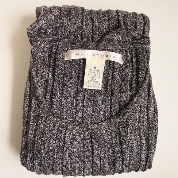 Max Studio Dresses & Skirts - LONG SLEEVE CABLE KNIT DRESS BLACK GRAY MAX STUDIO